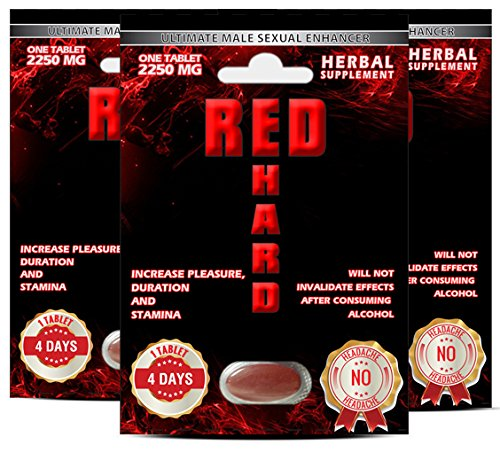 Red Hard Male Enhancement and Sexual Perform Enhancement 2250mg 1 Pack 3 Tablets - No Headache!