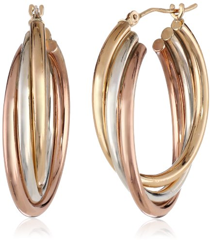 Sterling Silver 14k Yellow Gold Hoop Earrings