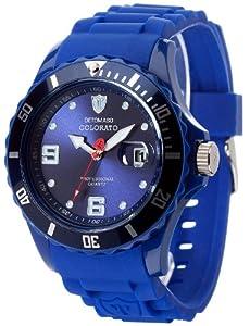 Detomaso - DT2028-C - Colorato - Montre Mixte adulte - Quartz Analogique - Cadran Bleu - Bracelet Silicone Bleu