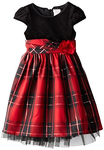 Youngland Little Girls' Plaid Skirt Occasion Dress, Black/Multi, 2T