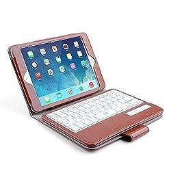 BESTEK iPad Mini 4 & 3 & 2 & 1 Bluetooth Keyboard Case,Newest Removable Wireless Bluetooth Keyboard Case Auto Sleep Wake for Apple iPad Mini 3rd Gen / iPad Mini 2 with Retina Display / iPad Mini (iPad Mini 4 & 3 & 2 & 1)(Brown)