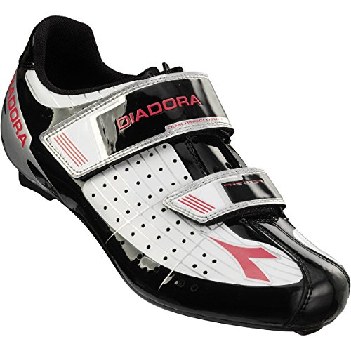 Diadora Phantom Cycling Shoes - Women's White/Black/Fuxia Red, 41.0