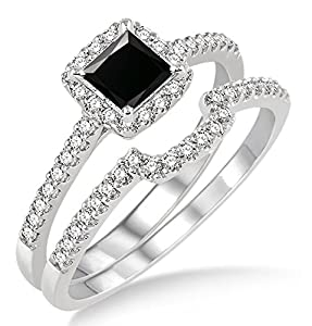 1.5 Carat Black Diamond Halo Bridal Set on 10k White Gold