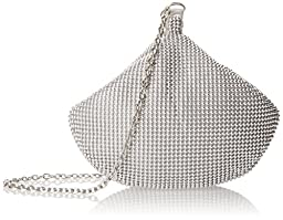 La Regale Flexible Ball Mesh Clutch, Silver, One Size
