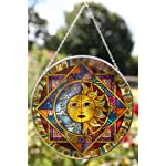 Large Sun and moon eclipse glass sun catcher