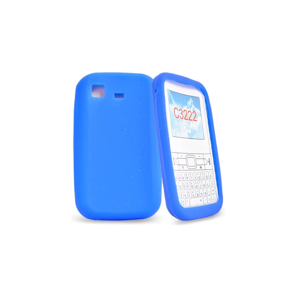 Mobile Palace   Blue silicone case cover pouch holster for samsung chat s3322 (not for 3350)