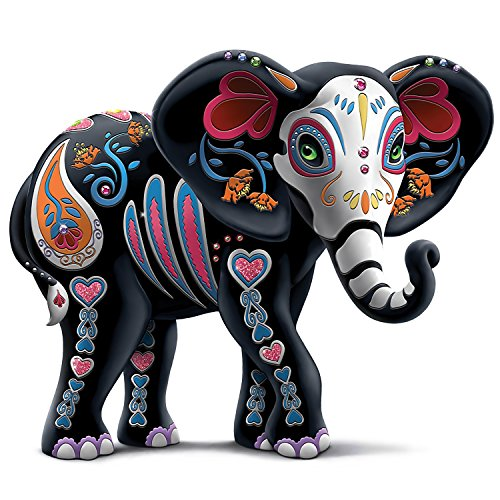 Blake Jensen Celebration Of Luck Sugar Skull Elephant Figurine with Faux Gems by The Hamilton Collection
