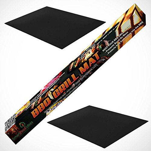 Bbq Grill Mat Cooking Sheet By Smart Food Ideas - Set Of 2 In A Pack Nonstick Reusable Portable Ptfe Fiberglass Fabric For Charcoal, Electric, Propane & Natural Gas. Protect Your Stainless Steel Racks. Make Grilling & Baking Easy - Lifetime Guarantee