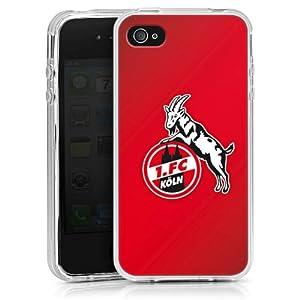 Apple iPhone 4 / 4S Case Hülle Cover Schutzhülle SilikonCase clear - 1. FC Köln rot