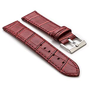 StrapsCo Burgundy Premium Crocodile Embossed Flat Leather Watch Strap in Size 14mm