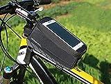 BestFire 自転車トップチューブバッグ サイクリングフレームバッグ  分離 式 自転車 バイク フレーム バック イヤホンホール付き  ポケット付き 収納可能 防水 防塵 タッチスクリーン 5.8インチスマホ対応 iPhone 6 iPh...