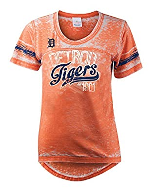 MLB Detroit Tigers Burnout Wash Wide Crew Neck Jersey