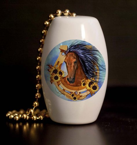 Horse In Horse Shoe Porcelain Fan / Light Pull front-1078396