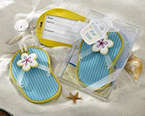 Flip-Flop Luggage Tag in Beach-Themed Gift Box (Set of 18) - Baby Shower Gifts & Wedding Favors