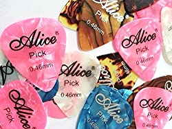 ALICE 5 PIECES GUITAR PICKS PLECTRUMS STANDARD STYLE 0.46 MM - HIGH QUALITY