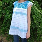 Telar Blouse - White with Turquoise Embroidery