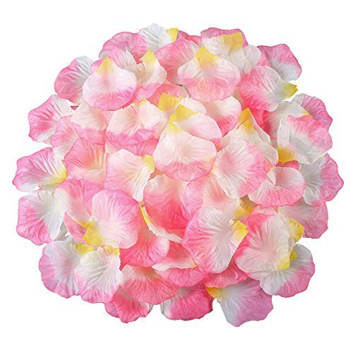 Hogado Rose Petals 2000pcs Artificial Silk Mix Colours Romantic Tabl Scatters Confett for Wedding Party Flower Girls Basket Decor Pink Yellow White (Freeze Dried Rose Petals Blue compare prices)