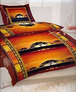 2 parure de lit coucher de soleil en afrique avec fermeture clair et 1 x housse de couette 155. Black Bedroom Furniture Sets. Home Design Ideas