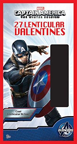 Paper Magic 27CT Lenticular Captain America 2 Kids Classroom Valentine Exchange Cards