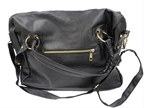 ショルダー バック 2WAY 合皮鞄 カバン 通勤 シック 男女兼用 ブラック
