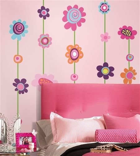 New Flowers Stripe 53 Giant Wall Stickers Room Decor Decals Borders Vines Girls Kids front-442792
