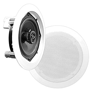 Pyle PDIC51RD In-Wall / In-Ceiling Dual 5.25-inch Speaker System, 2-Way, Flush Mount, White (Pair)