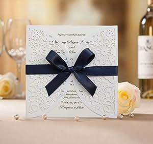 Amazon.com: 50pcs Wedding Invitation BH2065; White Laser