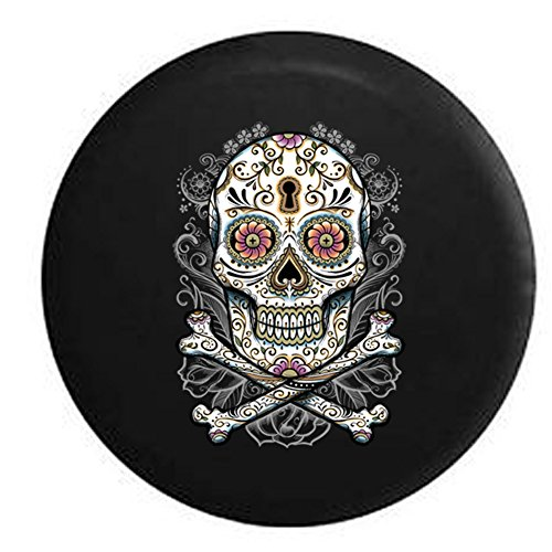 Floral Sugar Skull Vintage Smiling Flowers Spare Tire Cover Black 33 in (Skull Jeep Spare Tire Cover compare prices)