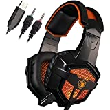 Sades SA-738 3.5mm Wired Lightweight Stereo Over Ear Gaming Headphones Led Lighting Headsets With Microphone PU...