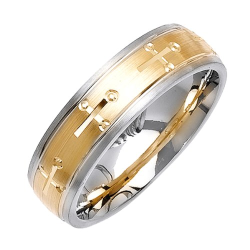 Women'S 6Mm Comfort Fit 14K 2-Tone Gold Wedding Band Ring In Yellow Trinity Cross In Satin Finish