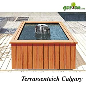 terrassenteich komplettset 39 calgary 39 inkl holzumrandung pe becken und pumpe garten. Black Bedroom Furniture Sets. Home Design Ideas