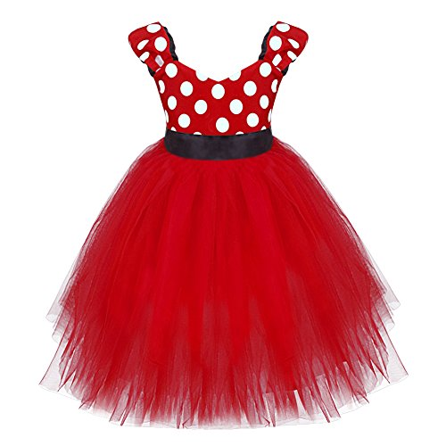 FEESHOW Baby Girls' Minnie Mouse Birthday Party Fancy Tutu Dress Up Costume (12 Months, Red) (Girls Mini Mouse Costume)