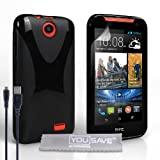 Yousave Accessories HTC Desire 310 Case Black Silicone X-Line Cover And Micro USB Cable