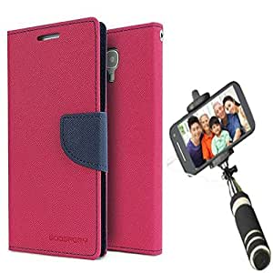 Aart Fancy Diary Card Wallet Flip Case Back Cover For Samsung ON5 - (Pink) + Mini Aux Wired Fashionable Selfie Stick Compatible for all Mobiles Phones By Aart Store