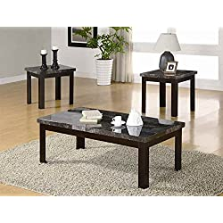 Milton Greens Stars 6637 3-Piece Andros Coffee and End Table Set, Faux Marble