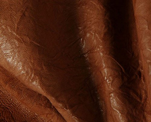 Italian Lambskin Leather Skin Hide Distressed Wrinkle Cognac - 8 Sq.Ft On Sale
