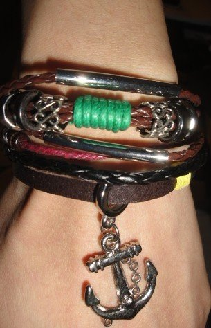 Brown Retro Anchor Pendant Cool Leather Bracelet