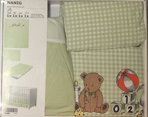 (4) Piece Baby's Crib Linen Gift Set ~ (1) Pale Green and White Gingham Duvet Featuring Teddy Bear, Monkey, Books, & Toys in the Design (1) Pale Green Crib Sheet, (1) Matching Gingham Pillowcase & (1) Pale Green Solid Crib Skirt - 1
