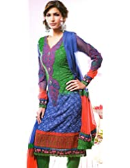 Exotic India Tr-Color Choodidaar Kameez Suit With Patchwork And Self- - Tr-Color
