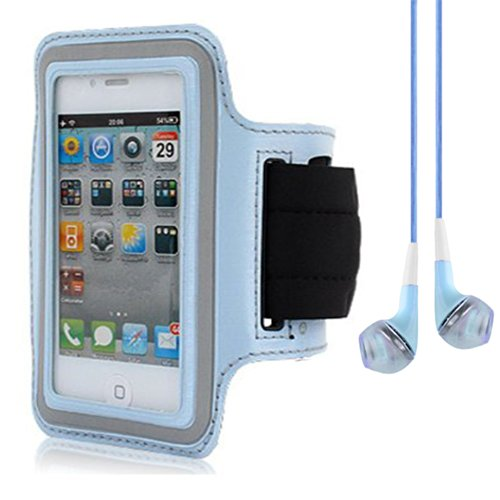 Light Blue Workouts Gym Armband Pouch Case For Nokia Lumia 520 521 Windows Phone / Nokia X Andriod / Iphone 5S 5C 5 4S + Blue Vangoddy Headphones With Mic