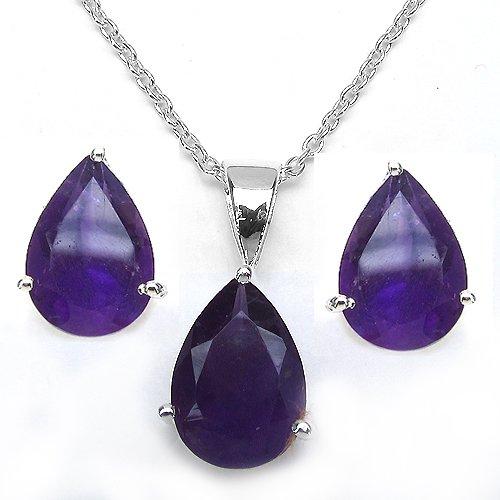 Jewelry-Schmidt-African Amethyst / JEWELS SET 4 pieces Silber/Rhodiniert-7, 86 carats