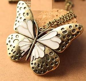 Retro Halskette mit Schmetterling -Anhänger (3092) - lange Retro Halskette Kette im Retro-Stil mit süßem Deco Schmetterling -Anhänger in schöner Optik