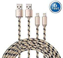 Capshi (TM) Certified 6 Feet / 2 Meters Nylon Braided 8 Pin Lightning to USB Charging Cable (Pack of 2)