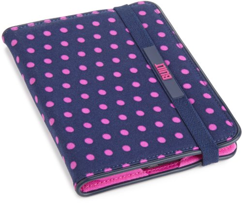 BUILT Kindle Slim Folio Case, Mini Dot Navy, fits Kindle Paperwhite, Touch, and Kindle