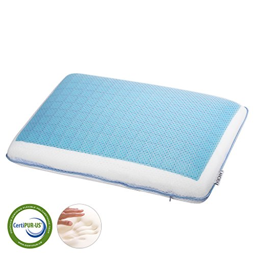 LANGRIA Reversible Soft Gel Pad Memory Foam Pillow, with Zippered Mesh Fabric Cover, Ergonomic Design, CertiPUR-US Certified, (23.6 x 15.7 x 4.7 inches) White and Blue (Gel Cool Memory Foam Pillow compare prices)