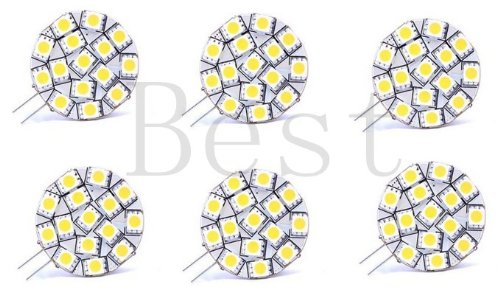 Best To Buy® (6-Pack) Disc Type G4 Base Side Pin 15 Smd Led, 240 Lumen Bulb Replacemnt For Rv Camper Trailer Boat Marine -White