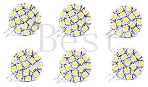 Best To Buy® (6-Pack) Disc Type G4 Base Side Pin 15 Smd Led, 10 Watt Holagen 197 Lumen Bulb Replacemnt For Rv Camper Trailer Boat Marine Warm White