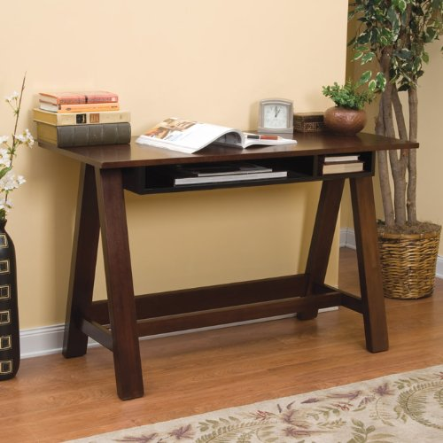 Trestle Desk - Espresso/ Black Glass