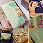 Bow Lace Fashion Wallet Flip Feature with Credit/id Card Slots/holder&strap PU Leather Bling Case Cover For Samsung Apple Smart Mobile Phone (Samsung Galaxy Note 2 II N7100 T889 i605)