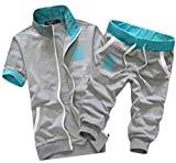 (モノア) Monoa プリント デザイン が かっこいい スポーツ スウェット 半袖 七分丈 パンツ 上下セット メンズ カジュアル スエット ダンス ウエア 部屋着 ジャージ / ブラック ホワイト グレー ネイビー (4 カラー ) XL グレー